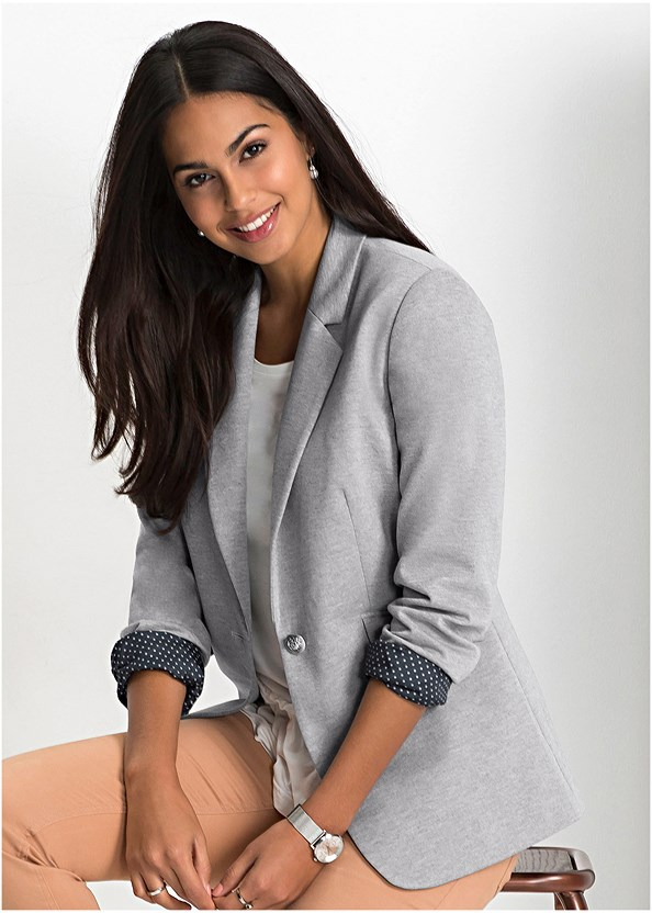 Cuff Detail Blazer,Seamless Cami,Mid Rise Color Skinny Jeans,Stud Detail Crossbody