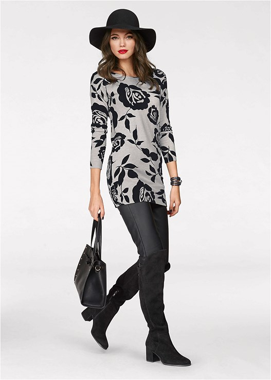 FLORAL TUNIC SWEATER,FAUX LEATHER PANTS,DEEP V COMFORT BRA 2PK,CUT OUT DETAIL BOOTS
