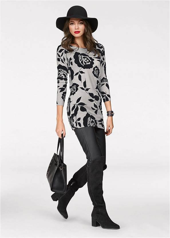 Floral Tunic Sweater,Faux Leather Pants,Rhinestone Fringe Earrings