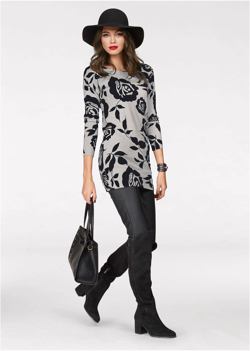 Floral Tunic Sweater,Faux Leather Pants,Cut Out Detail Boots,Rhinestone Fringe Earrings
