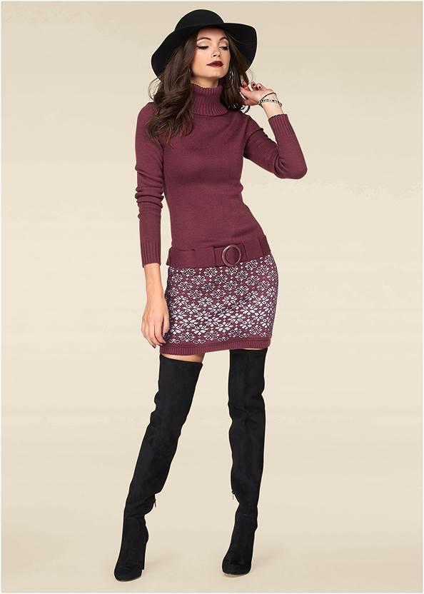 Belted Sweater Dress,Slouchy Block Heel Boots,Beaded Tassel Earrings,Studded Faux Leather Tote