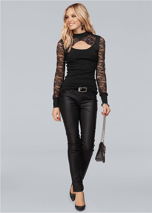 CUT OUT DETAIL LACE SWEATER,FAUX LEATHER PANTS,CUT OUT DETAIL BOOTS