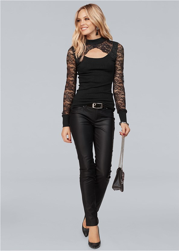 Cut Out Lace Sweater,Faux Leather Pants