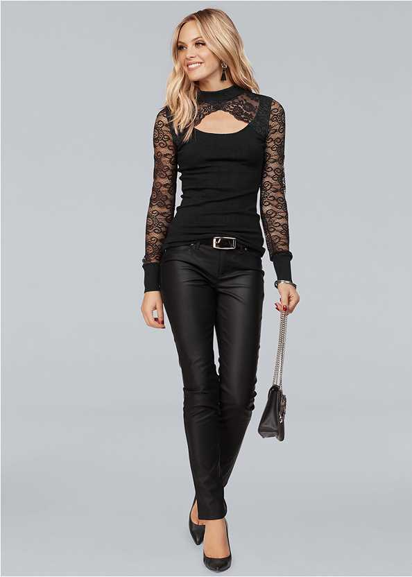 Cut Out Lace Sweater,Faux Leather Pants,Cut Out Detail Boots