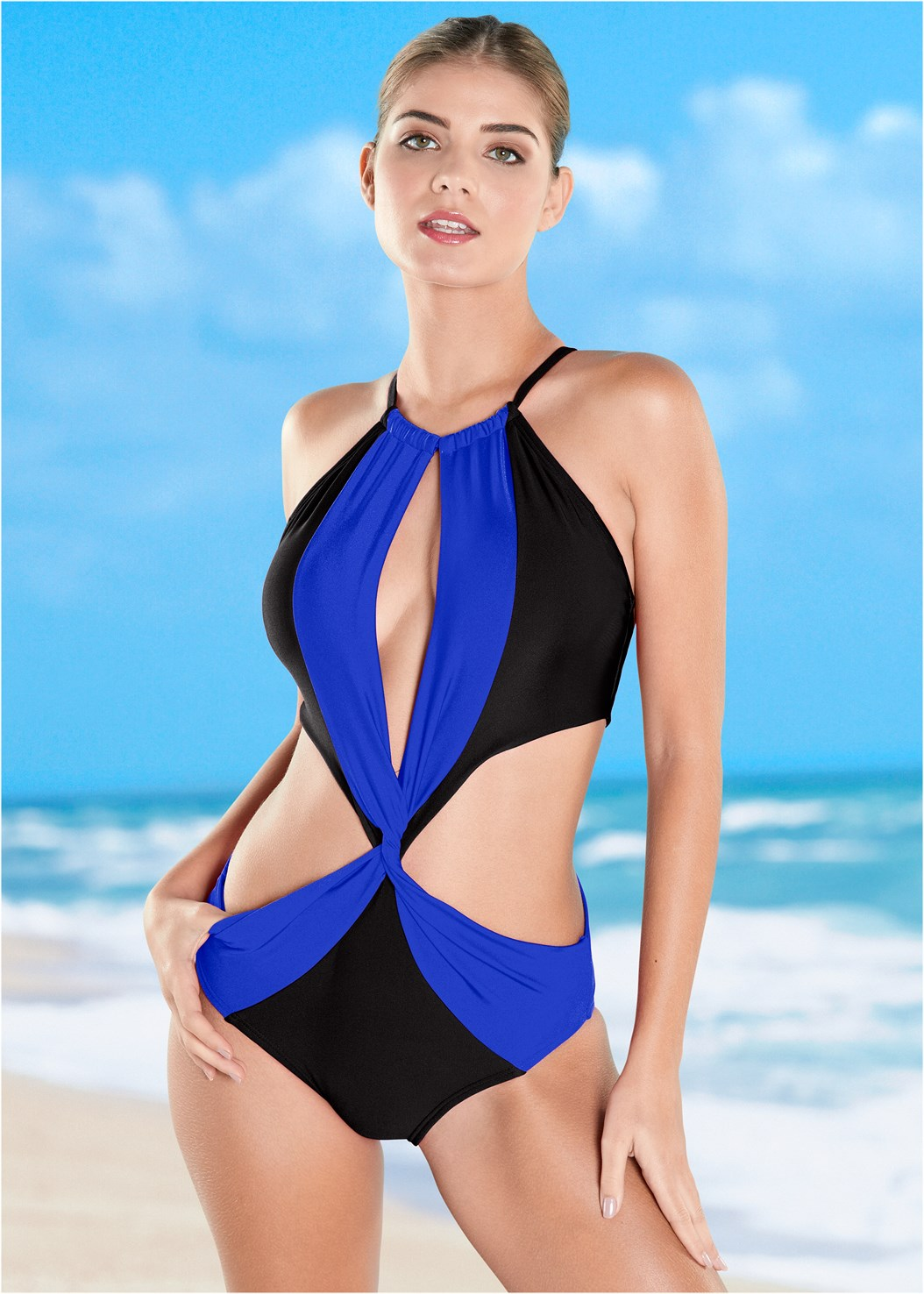 Twisted Monokini,Wide Leg Cover-Up Pants