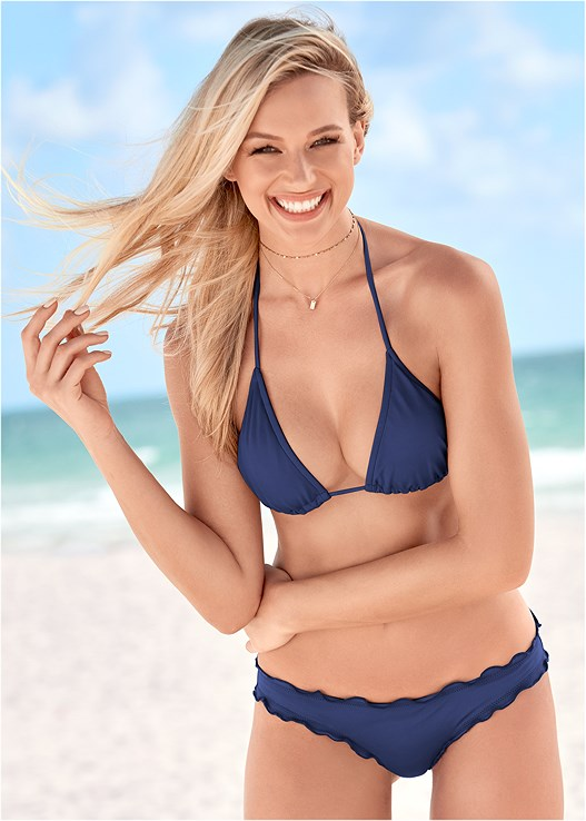 RUFFLE EDGE LOW RISE BOTTOM,TRIANGLE BIKINI TOP