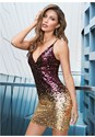 Front View Ombre Sequin Mini Dress