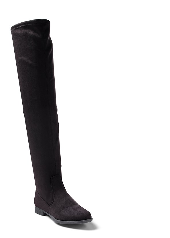 Over The Knee Stretch Boots,Knit Asymmetrical Button Front Jacket,Mid Rise Color Skinny Jeans