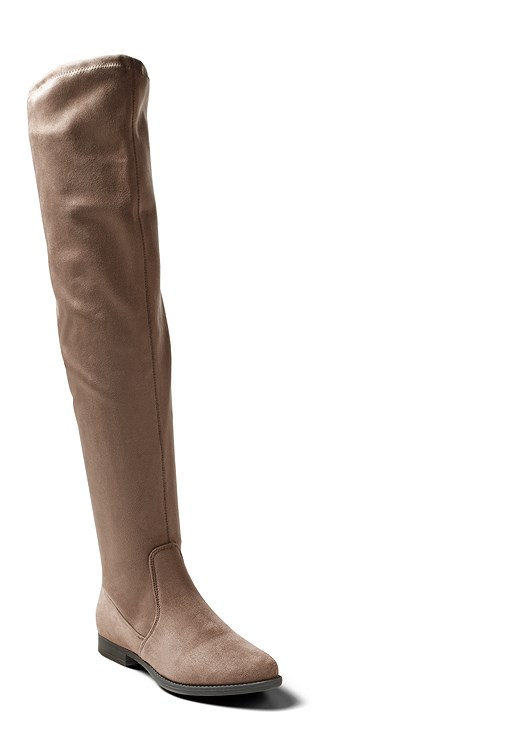 OVER THE KNEE STRETCH BOOTS,RUCHED OMBRE TOP,COLOR SKINNY JEANS