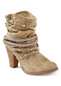 embellished buckle booties