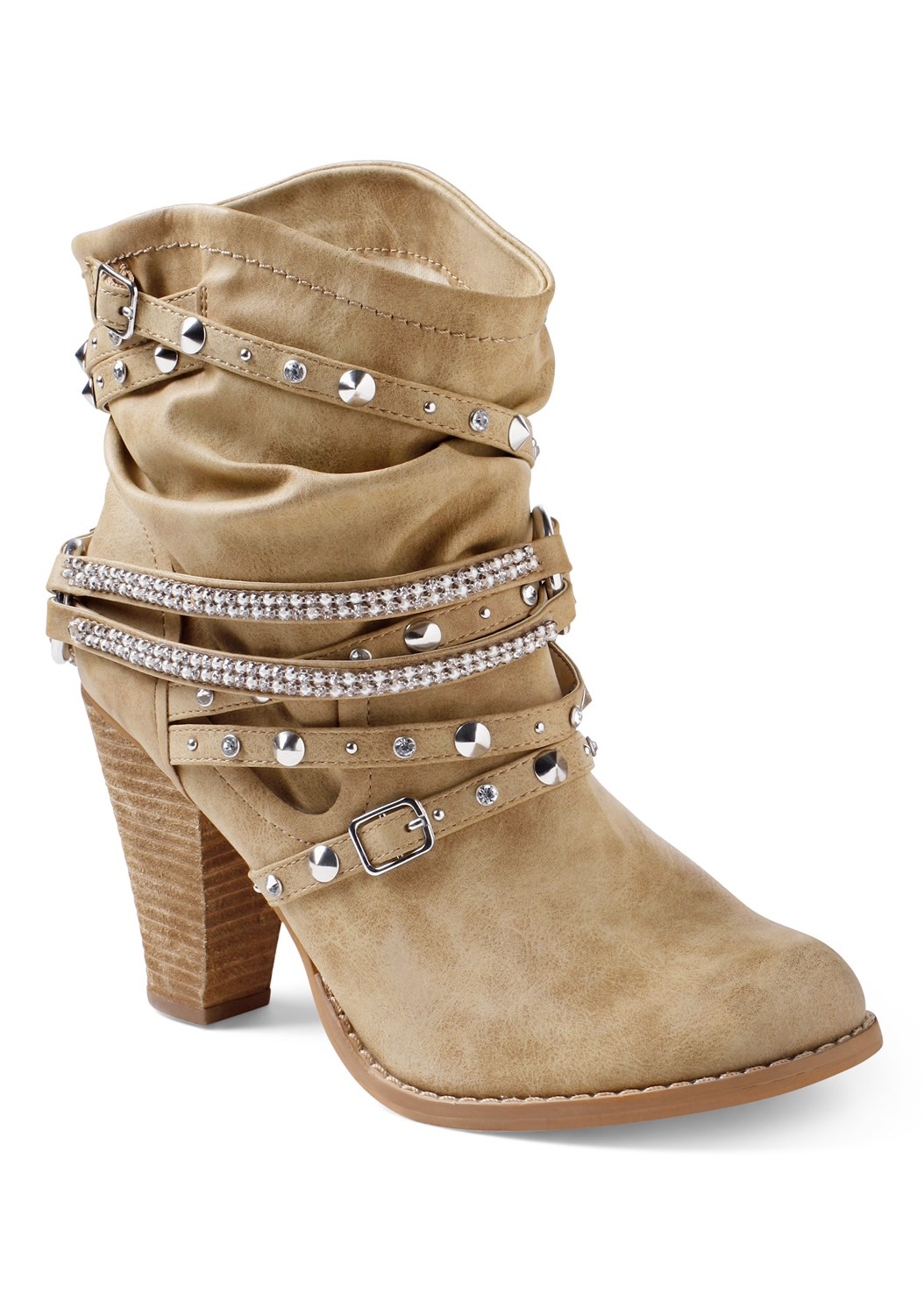 Embellished Buckle Booties,Mock Neck Ribbed Sweater