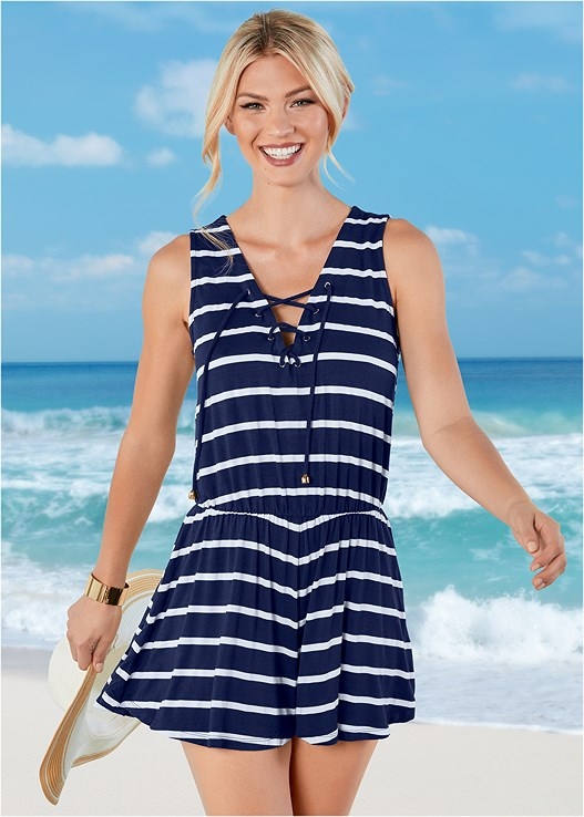 ROMPER COVER-UP,ENHANCING VALENTINA PUSH UP,SCOOP FRONT BIKINI BOTTOM