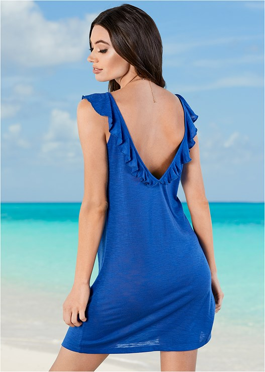 RUFFLE COVER-UP DRESS