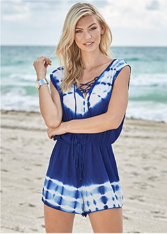 lace up cover-up romper