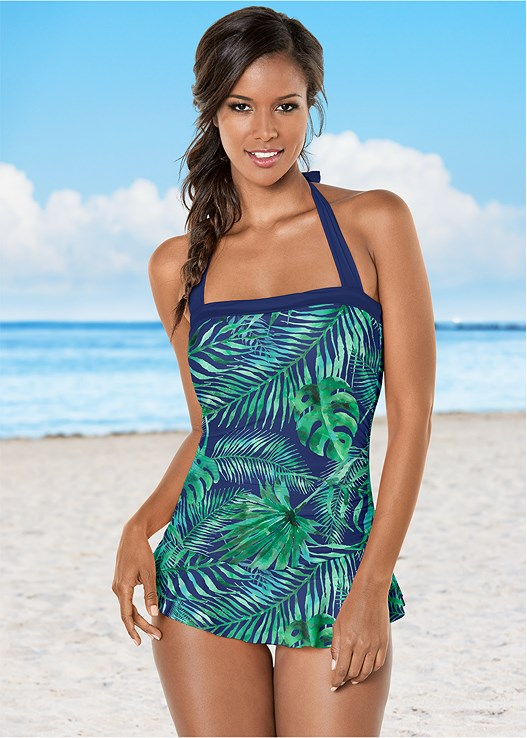 SKIRTED HALTER ONE-PIECE,CROCHET COVER-UP