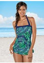 Front View Skirted Halter One-Piece