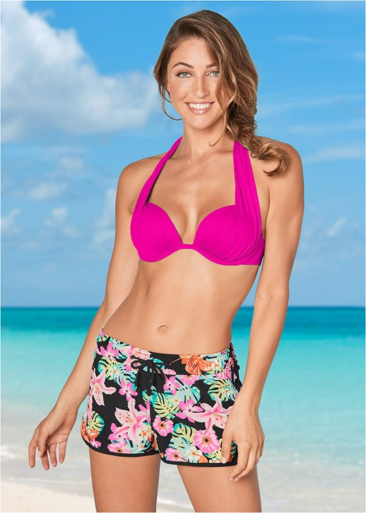 COMFY BOARD SHORTS,UNDERWIRE HALTER BIKINI TOP,MARILYN PUSH UP BRA TOP,SCOOP FRONT BIKINI BOTTOM