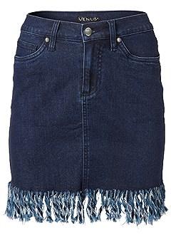 plus size frayed hem jean skirt