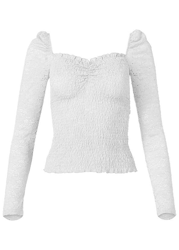 Smocked Lace Top,Frayed Cut Off Jean Shorts,Fold Over Boot,Circle Detail Handbag