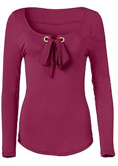 plus size lace up long sleeve top