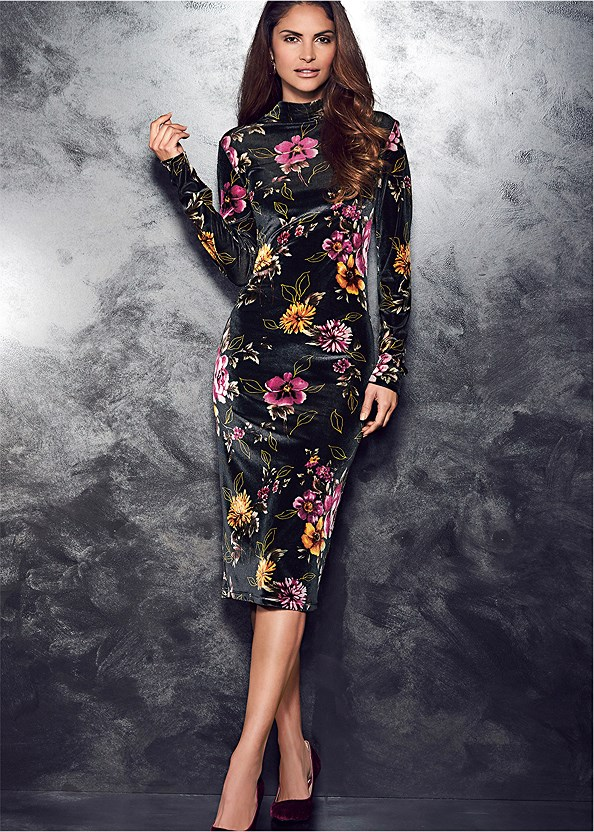 Floral Printed Velvet Dress,Confidence Full Body Shaper
