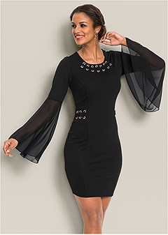 flare sleeve detail dress