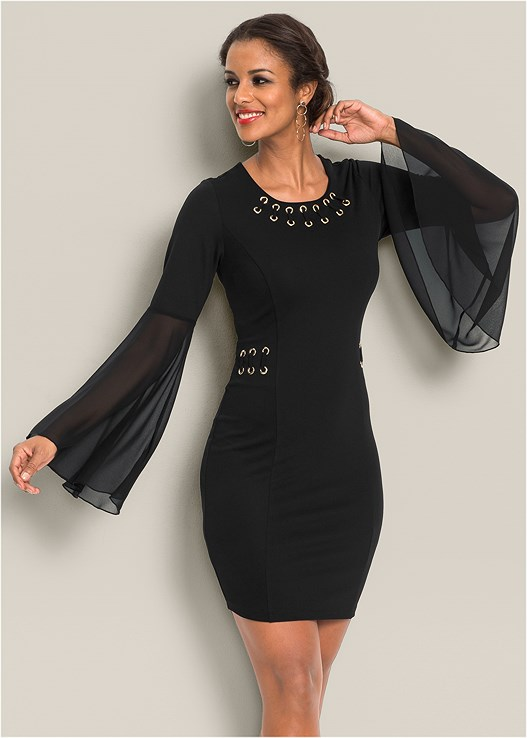 FLARE SLEEVE DETAIL DRESS,CONFIDENCE SEAMLESS DRESS