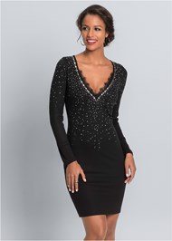 Front View Embellished Party Dress