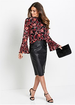 bell sleeve floral blouse