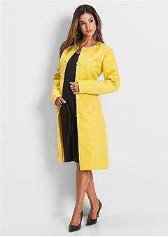 plus size button detail long coat