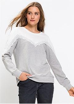 lace detail sweatshirt
