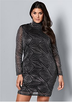plus size glitter detail dress