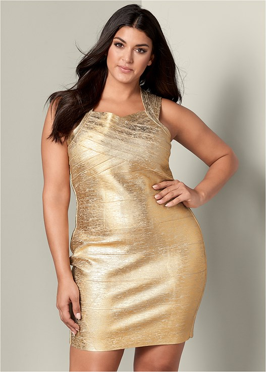 Plus Size BANDAGE METALLIC DRESS | VENUS