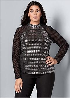 plus size sequin detail mesh top