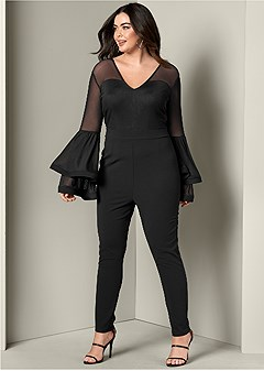 plus size sleeve detail jumpsuit