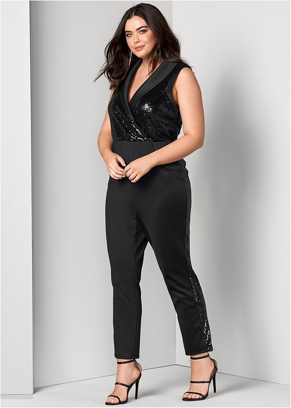 Sequin Tuxedo Jumpsuit,High Heel Strappy Sandals,Rhinestone Fringe Earrings