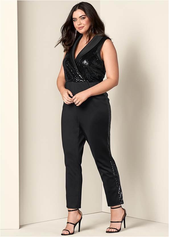 Sequin Tuxedo Jumpsuit,High Heel Strappy Sandals,Rhinestone Fringe Earrings