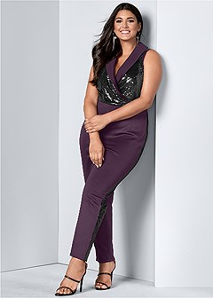 plus size sequin detail jumpsuit