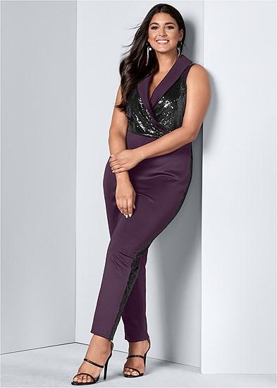 Plus Size Sequin Tuxedo Jumpsuit