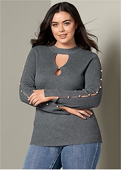 plus size pearl detail sweater