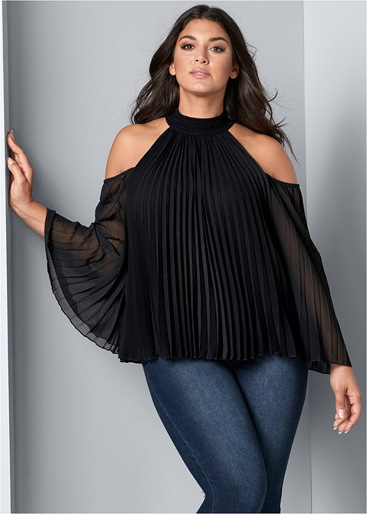 7cd1fadf3fe3f Plus Size PLEATED COLD SHOULDER TOP
