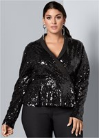 plus size sequin peplum top