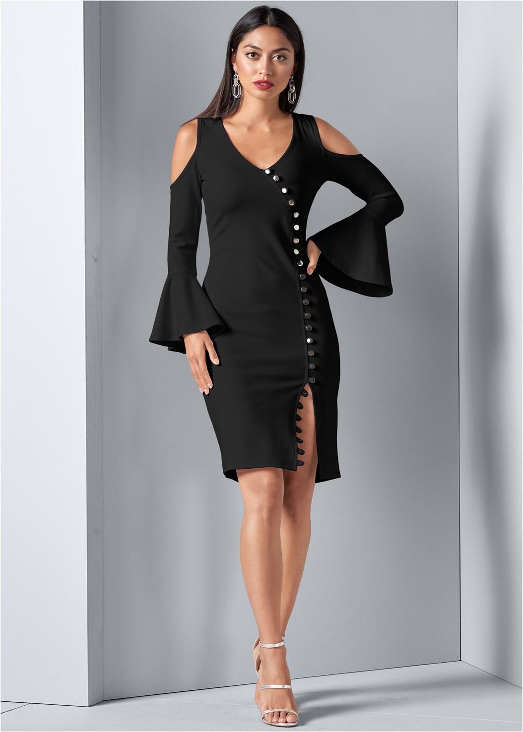 Button Detail Dress,High Heel Strappy Sandals