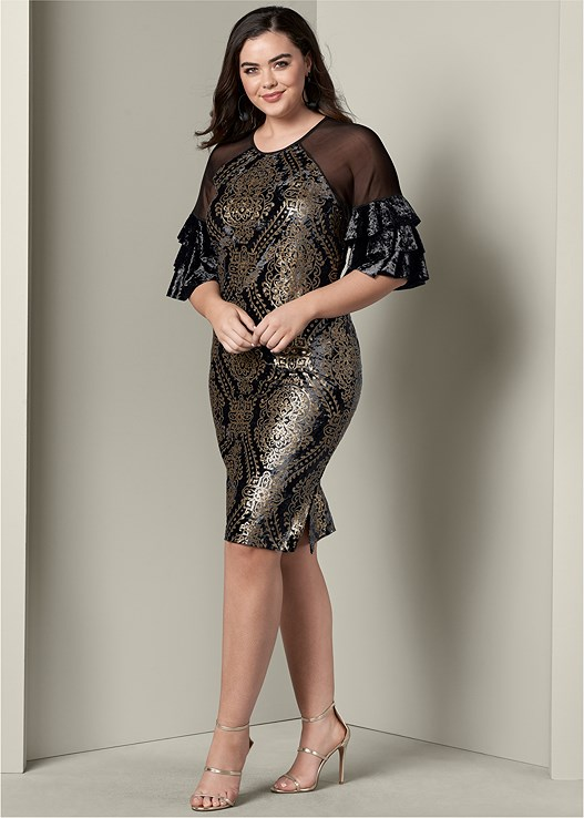 7056e6acd5f Plus Size SEQUIN DETAIL VELVET DRESS
