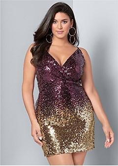 Plus Size Ombre Sequin Mini Dress