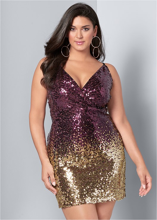 f70aada277c Plus Size OMBRE SEQUIN MINI DRESS