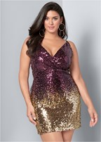 plus size ombre sequin mini dress