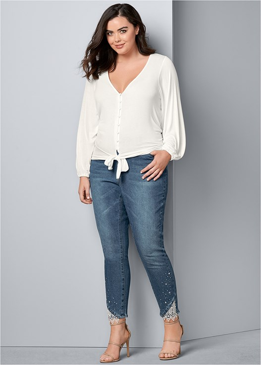 bb9c7d5808 Plus Size EMBELLISHED JEANS in Dark Wash