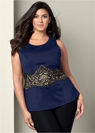 Front View Lace Waistband Trim Top