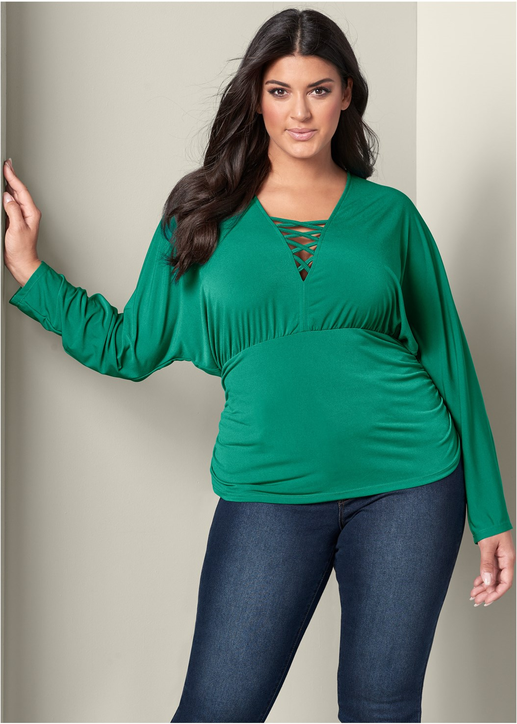 Strappy Detail Ruched Top,Mid Rise Color Skinny Jeans